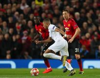 Manchester United v Paris Saint-Germain - UEFA Champions League Round of 16: First Leg. MANCHESTER, ENGLAND - FEBRUARY 12 2019: Kylian Mbappe of PSG during the royalty free stock images