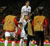 Manchester United v Paris Saint-Germain - UEFA Champions League Round of 16: First Leg. MANCHESTER, ENGLAND - FEBRUARY 12 2019: Kylian Mbappe of PSG celebrates stock photos