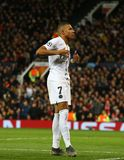Manchester United v Paris Saint-Germain - UEFA Champions League Round of 16: First Leg. MANCHESTER, ENGLAND - FEBRUARY 12 2019: Kylian Mbappe of PSG celebrates stock images