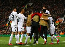 Manchester United v Paris Saint-Germain - UEFA Champions League Round of 16: First Leg. MANCHESTER, ENGLAND - FEBRUARY 12 2019: Kylian Mbappe of PSG celebrates royalty free stock photos