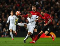Manchester United v Paris Saint-Germain - UEFA Champions League Round of 16: First Leg. MANCHESTER, ENGLAND - FEBRUARY 12 2019: Luke Shaw of Manchester United stock image