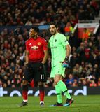Manchester United v Paris Saint-Germain - UEFA Champions League Round of 16: First Leg. MANCHESTER, ENGLAND - FEBRUARY 12 2019: m11 and Gianluigi Buffon of PSG stock image