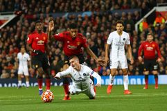 Manchester United v Paris Saint-Germain - UEFA Champions League Round of 16: First Leg. MANCHESTER, ENGLAND - FEBRUARY 12 2019: Marcus Rashford of Manchester royalty free stock photos
