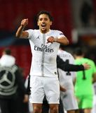 Manchester United v Paris Saint-Germain - UEFA Champions League Round of 16: First Leg. MANCHESTER, ENGLAND - FEBRUARY 12 2019: Marquinhos of PSG during the royalty free stock image