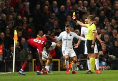 Manchester United v Paris Saint-Germain - UEFA Champions League Round of 16: First Leg. MANCHESTER, ENGLAND - FEBRUARY 12 2019: during the Champions League match royalty free stock photography