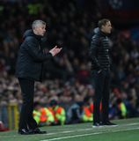 Manchester United v Paris Saint-Germain - UEFA Champions League Round of 16: First Leg. MANCHESTER, ENGLAND - FEBRUARY 12 2019: Ole Gunnar Solskjaer Manager of stock photos