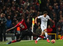 Manchester United v Paris Saint-Germain - UEFA Champions League Round of 16: First Leg. MANCHESTER, ENGLAND - FEBRUARY 12 2019: Paul Pogba of Manchester United stock photos