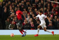 Manchester United v Paris Saint-Germain - UEFA Champions League Round of 16: First Leg. MANCHESTER, ENGLAND - FEBRUARY 12 2019: Paul Pogba of Manchester United stock image