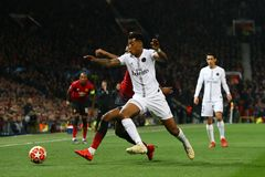 Manchester United v Paris Saint-Germain - UEFA Champions League Round of 16: First Leg. MANCHESTER, ENGLAND - FEBRUARY 12 2019: Presnel Kimpembe of PSG during stock photography