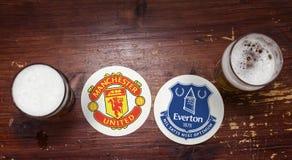 Manchester United versus Everton stock foto's