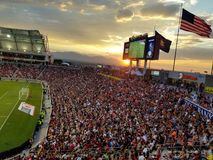 Manchester United vs salt lake city real. Sunset at soccer game, futbol Stock Photography