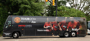 Manchester Unitedbus in Ann Arbor Royalty-vrije Stock Afbeelding