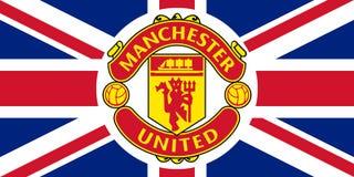 Manchester Unitedemblem på Union Jack vektor illustrationer