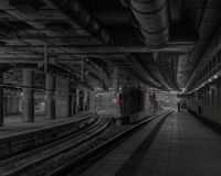 Manchester Victoria in Black White and Red royalty free stock photography