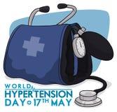 Manchette de tension artérielle avec le stéthoscope pour la conception de commémoration de jour d'hypertension, illustration de v Photo stock