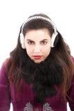Manchons de port d'oreille de femme froide image libre de droits