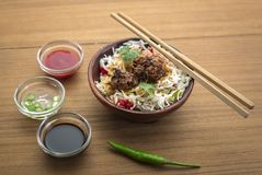 Manchurian with cooked rice in a bowl Royalty Free Stock Image
