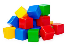 Manciata di blocchetti del giocattolo su priorità bassa bianca Fotografia Stock