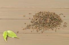 Manciata di foglie di tè nere Fotografie Stock Libere da Diritti