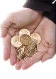 Manciata di monete di Kruggerand dell'oro Fotografia Stock