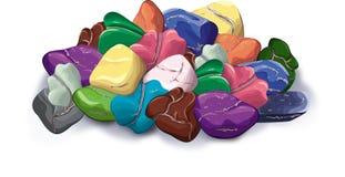Manciata di pietre, minerali Immagine Stock