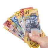 Manciata di soldi australiani isolata Fotografie Stock Libere da Diritti