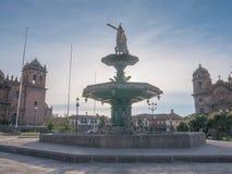 Manco Capac water fountain golden statue in Cusco Stock Image
