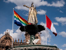 Manco Capac water fountain golden statue in Cusco Stock Images