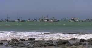 Mancora beach in Peru on a sunny day stock video footage