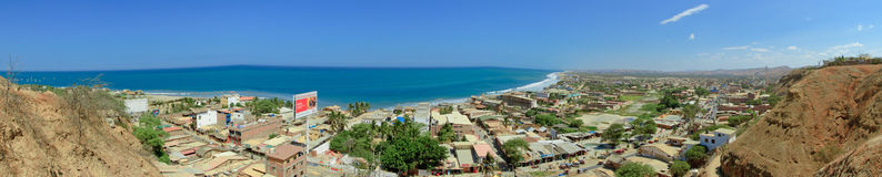 Mancora Beach and town panorama top view, Peru Royalty Free Stock Image