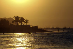 Mancora Sunset. Mancora in Peru is fast becoming one of the hottest new surf destinations. The world championships were recently held there. As well as it surf Stock Photo