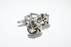 Mancuernas de plata Fotografía de archivo libre de regalías