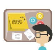 Design thinking concept. Mand and board with notes over white background colorful design vector illustration Royalty Free Stock Photography