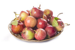 Mand met appelen op een witte achtergrond worden geïsoleerd die Stock Foto