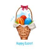 Mand met digitale banner van eieren de gelukkige Pasen Drie kleurrijke eieren in houten mand met boog De illustratie van de klemk Stock Foto