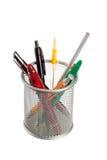 Mand met pennen en potloden Stock Afbeeldingen