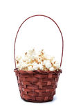 Mand met popcorn op een witte achtergrond Let op een film Stock Foto