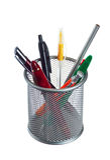 Mand met potloden en pennen Royalty-vrije Stock Foto