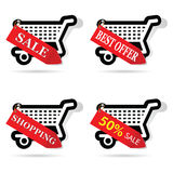 Mand met rood etiket op het illustratie Stock Afbeelding