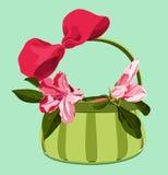 Mand met roze azalea's en boog Royalty-vrije Illustratie