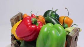 Mand met verschillende types van Spaanse pepers stock video