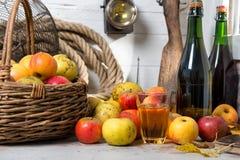 Mand van appelen, flessen cider stock fotografie
