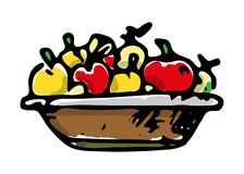 Mand van appelen kleurrijk pictogram Hand getrokken zwarte schets tekensymbool Genomen in Genua, Italië Witte achtergrond Geïsole royalty-vrije illustratie