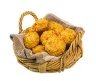 Mand van Smakelijke Muffins die over wit worden geïsoleerdn royalty-vrije stock afbeeldingen