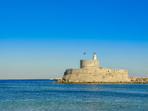 Mandaki harbor port and Fort of St. Nicholas in Rhodes Stock Photography