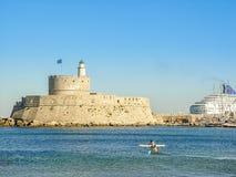 Mandaki harbor port and Fort of St. Nicholas in Rhodes Royalty Free Stock Image