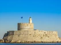 Mandaki harbor port and Fort of St. Nicholas in Rhodes Stock Images