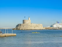 Mandaki harbor port and Fort of St. Nicholas in Rhodes Stock Photos