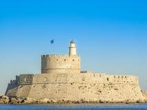 Mandaki harbor port and Fort of St. Nicholas in Rhodes Royalty Free Stock Photos