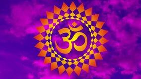 Mandala à jour avec un aum/OM/signe d'ohm contre le ciel dans une tonalité bleue et pourpre vidéo illustration de vecteur